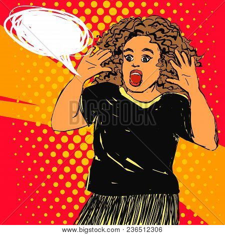 Scared Screaming Woman With Opened Mouth And Hands Up, Curly Hair. Vector Hand Drawn Pop Art Illustr