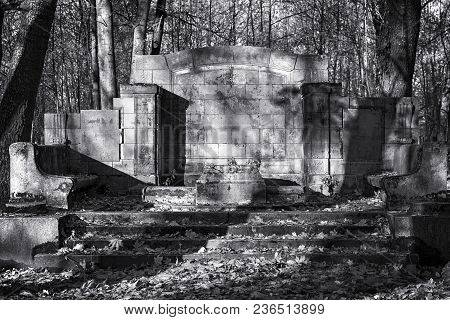Ancient Abandoned Monumental Grave. Cemetery Black And White Landscape