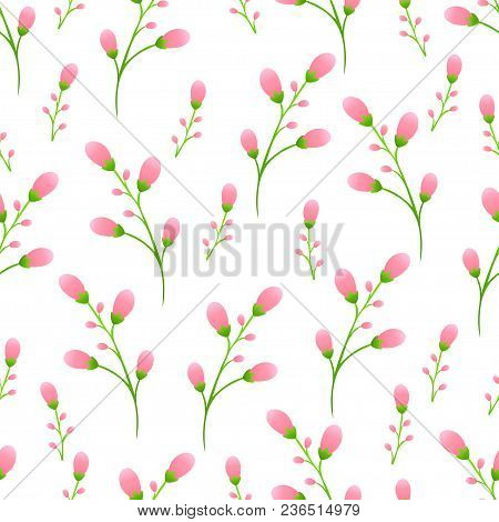 Delicate Pink Buds On The Stem, Pink Flowers Seamless Pattern, Floral Vector Background. Unblown Spr