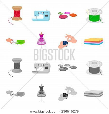 Fabric, Scissors For Cutting Fabrics, Hand Sewing, Dummy For Clothes. Sewing And Equipment Set Colle