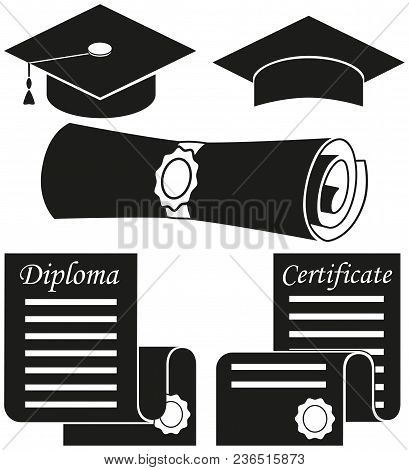 Black And White Graduation Silhouette Set 5 Elements. Education Themed Vector Illustration For Gift