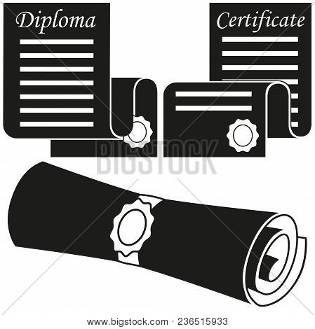 Black And White Graduation Scroll Silhouette Set. Education Themed Vector Illustration For Gift Card