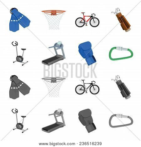 Exercise Bike, Treadmill, Glove Boxer, Lock. Sport Set Collection Icons In Cartoon, Monochrome Style