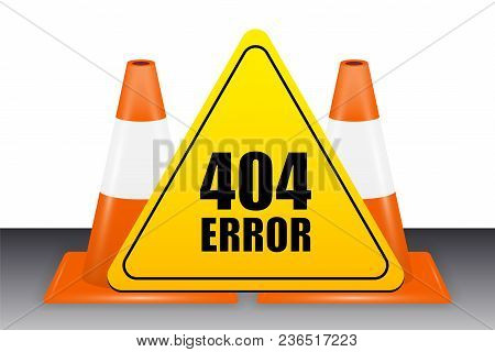 A 404 Error Sign With Traffic Cone Vector