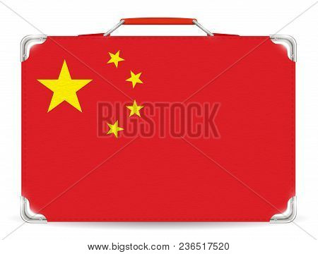 China Flag On Travel Suitcase On White Background