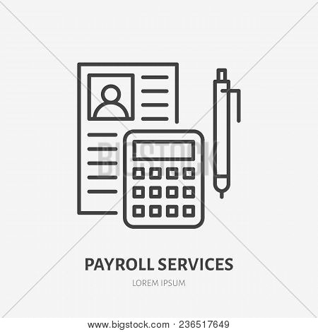 Payroll With Consultator Flat Line Icon. Personnel Accounting Sign. Thin Linear Logo For Legal Finan