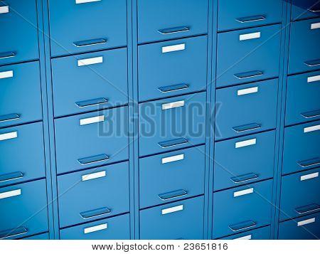 fine 3d image of blue file cabinet