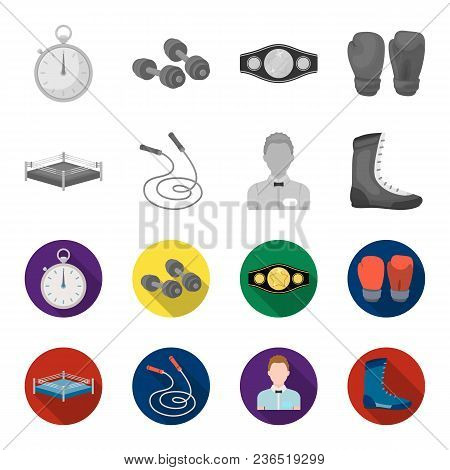 Ring, Rope, Referee, Sneakers Boxing Set Collection Icons In Monochrome, Flat Style Vector Symbol St