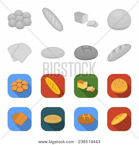 Toast, Pizza Stock, Ruffed Loaf, Round Rye.bread Set Collection Icons In Monochrome, Flat Style Vect
