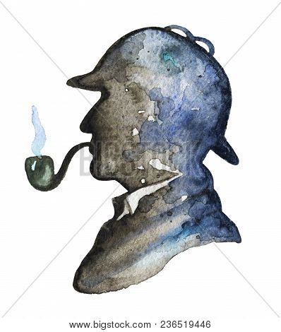Vintage Silhouette Of Sherlock Holmes With Smoking Pipe And Hat On White Background. Watercolor Hand
