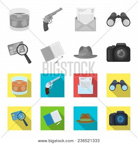 Camera, Magnifier, Hat, Notebook With Pen.detective Set Collection Icons In Monochrome, Flat Style V