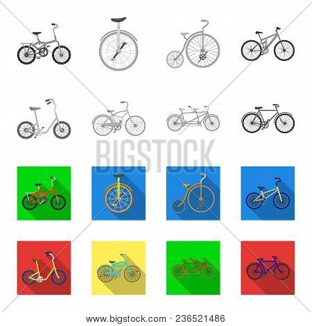 Children Bicycle, A Double Tandem And Other Types.different Bicycles Set Collection Icons In Monochr