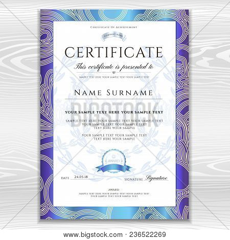 Certificate, Diploma (golden Design Template, Background With Floral, Filigree Pattern, Scroll Borde