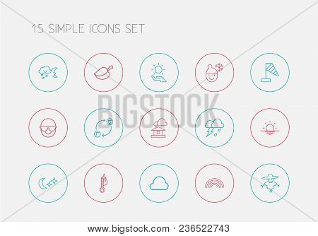 Set Of 15 Editable Weather Icons Line Style. Includes Symbols Such As Thermometer, Spectacles, Overc