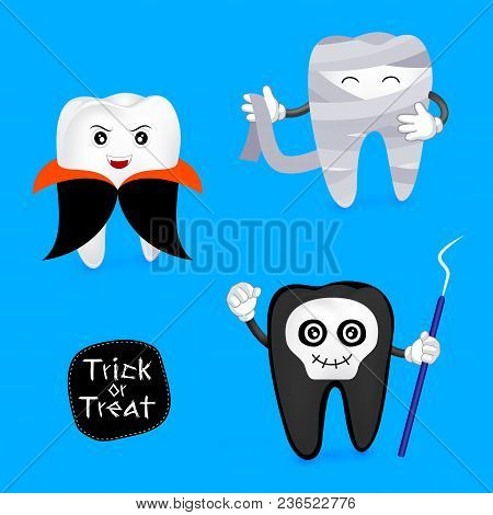 Halloween Concept Of Teeth Character Set. Funny Tooth Illustration, Dracula, Ghost And Mummy Isolate