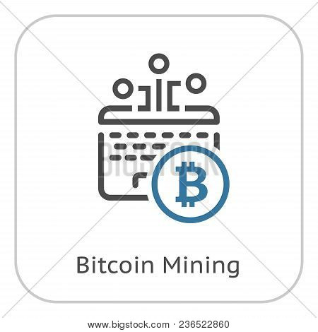Bitcoin Mining. Cryptocurrency Icon. Modern Computer Network Technology Sign. Digital Graphic Symbol
