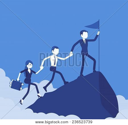 Team Of Successful Businesspeople Conquering Mountain Market Top. Company Accomplishing A Desired Ai