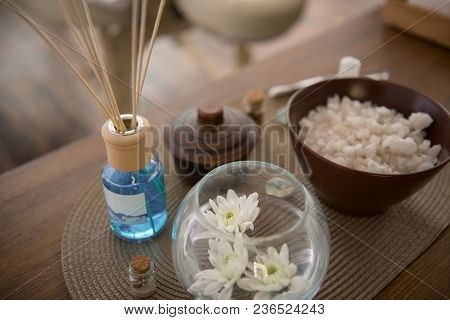 Magic Atmosphere. Close Up Of Spa Salon Decorations Being Used For Creation A Magic Atmosphere