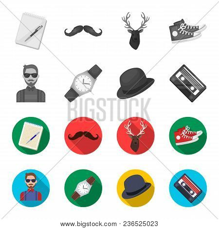 Hipster, Fashion, Style, Subculture .hipster Style Set Collection Icons In Monochrome, Flat Style Ve