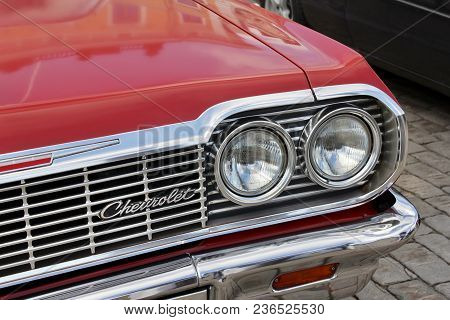 Helsinki, Finland - August 4, 2017: Beautiful Details Of Vintage Red Car On The Front Side At Helsin