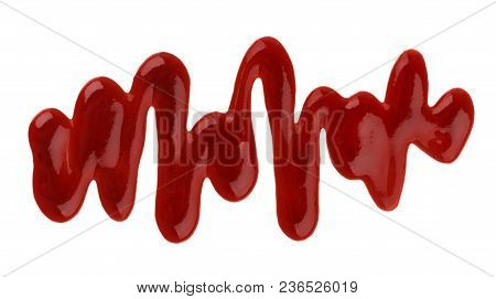 Ketchup. Splashes And Spilled Ketchup Sauce Isolated On White Background With Clipping Path. Top Vie