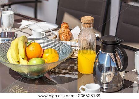 A Healthy Morning Breakfast In The Yard. In Summer.