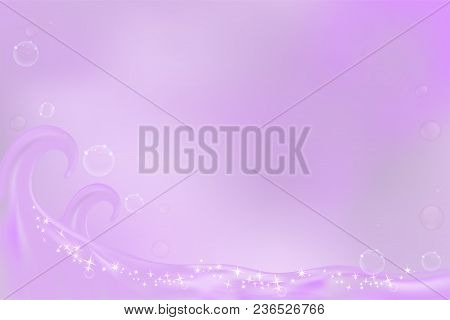 Purple Wave With Space For Text, Aqua Background For Cosmetic Or Skin Care Ad, Illustration Vector.