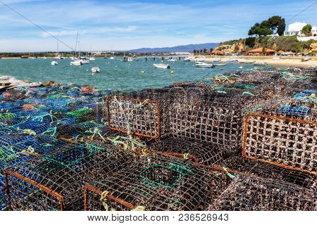 Tackles And Traps Of Fishermen For Catching Shellfish And Fish. In The Town Of Alvor Algarve