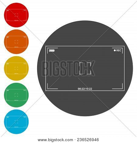 Camera Viewfinder, Simple Illustration On Circle, Set
