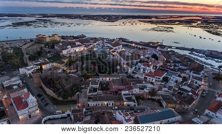 Aerial. Delightful Sunrise Above The Old Town Of Faro Portugal