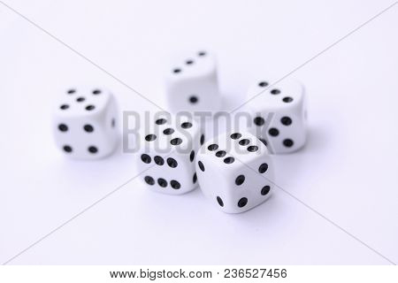 Dice Game With Dice Isolated On White Casino Concept