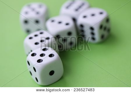 Dice Game With Dice Isolated On Green Casino Concept