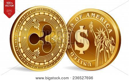 Ripple. Dollar Coin. 3d Isometric Physical Coins. Digital Currency. Cryptocurrency. Golden Coins Wit