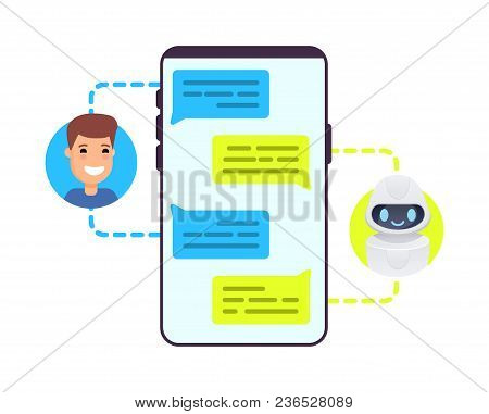 Man Chatting With Chat Bot On Smartphone Asking Question, Getting Solution. Concept Illustration. Ve