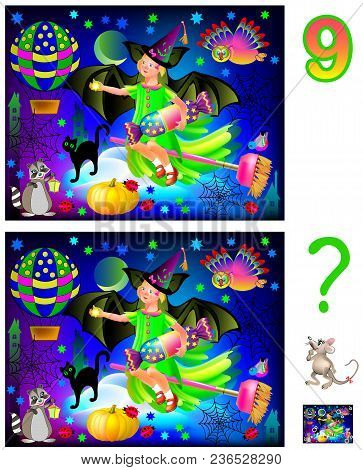 Logic Puzzle Game For Children And Adults. Need To Find 9 Differences. Developing Skills For Countin