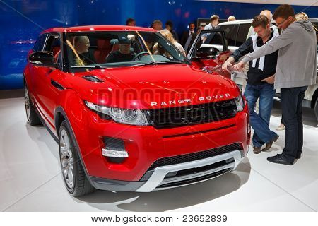 FRANKFURT - SEP 17: Range Rover Evoque Coupe shown at the 64th Internationale Automobil Ausstellung (IAA) on September 17, 2011 in Frankfurt, Germany.