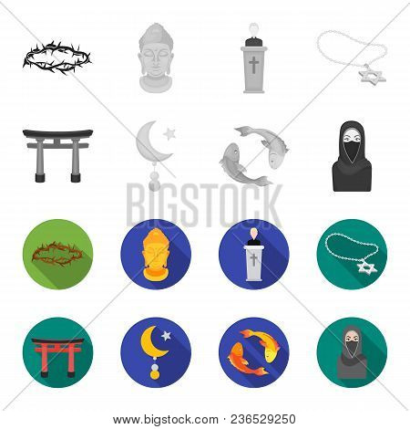 Torii, Carp Koi, Woman In Hijab, Star And Crescent. Religion Set Collection Icons In Monochrome, Fla