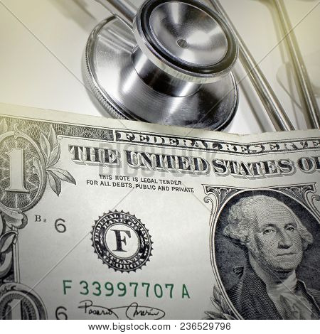 Stethoscope Dollar , Expenditure On Health Or Financial Assistance, High Cost Of Expensive Drug Conc