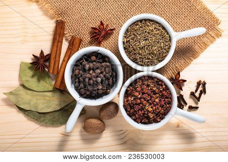 Exotic Spices Concept Chinese Asian Spices Mix  Sichuan Peppercorns, Star Anise Pods, Bay Leave, Bla
