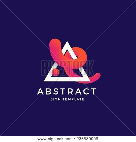 Abstract Vector Blend Curve In A Trinagle Symbol, Sign Or Logo Template. Elegant Curved Line With Br