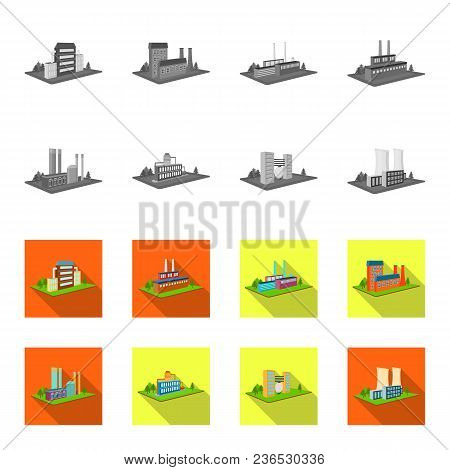 Processing Factory, Metallurgical Plant. Factory And Industry Set Collection Icons In Monochrome, Fl