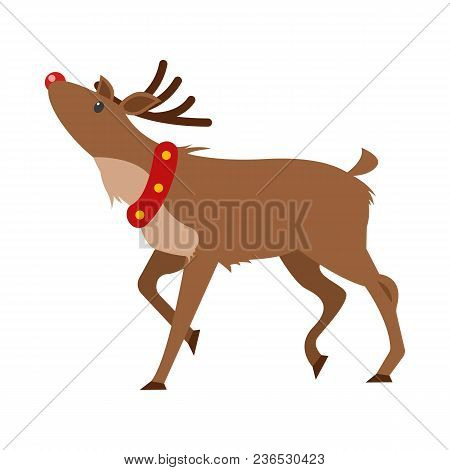 Christmas Realistic Deer Isolated On White. Reindeer Greeting You, Wishes Merry Christmas And Happy