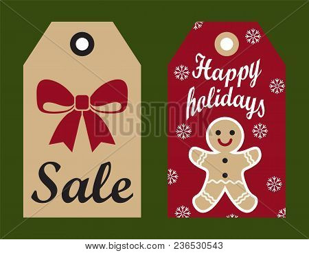 Sale Happy Holidays Set Of Labels With Offers Made On Christmas And New Year, Bow And Cookie With Sn