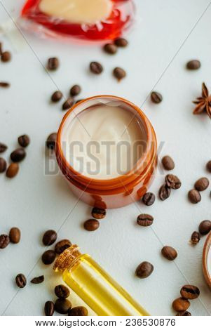 Natural Cosmetics With Oil And Coffee Extract