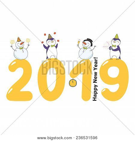 Hand Drawn Happy New Year 2019 Greeting Card, Banner Template With Cute Funny Cartoon Penguins, Snow