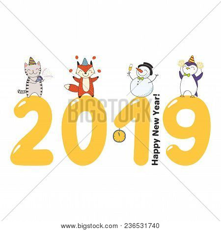 Hand Drawn Happy New Year 2019 Greeting Card, Banner Template With Cute Funny Cartoon Animal On Big