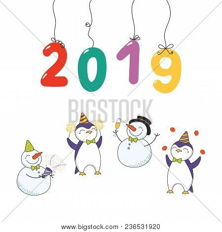 Hand Drawn Happy New Year 2019 Card With Numbers Hanging On Strings, Cute Funny Cartoon Penguins, Sn