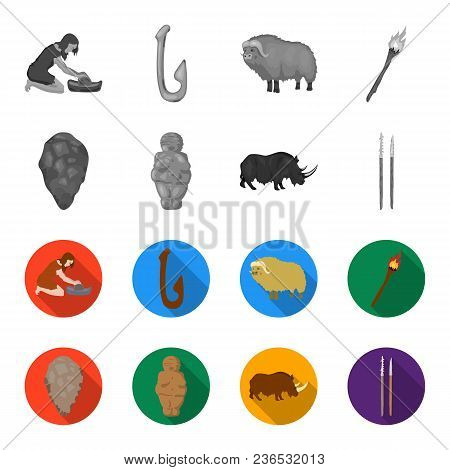 Primitive, Woman, Man, Cattle .stone Age Set Collection Icons In Monochrome, Flat Style Vector Symbo