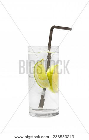 Transparent Cocktail In A Tall Glass With Ice Cubes With Two Slices, Lime Quart, Soda, Aeration With