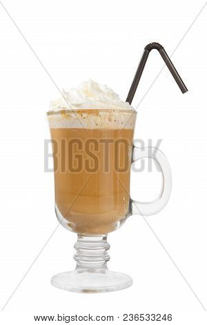 Single-color Opaque Cocktail, Coffee With Milk, Cocoa, Hot Chocolate In A Tall Glass With A Handle W